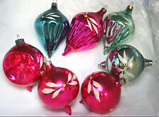 Teardrop Balloon Christmas Ornaments Fluted Glass Pontil Hand Painted Vtg Lot 7