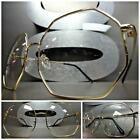 CLASSIC VINTAGE RETRO Style Clear Lens EYE GLASSES Gold Octagon Fashion Frame