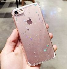 For iPhone 7 - Hard TPU Rubber Gummy Gel Skin Case Cover Sparkle Shiny Glitter