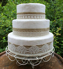 Wedding Cake Topper Set~Hessian, Vintage Lace & Pearls~Decoration/Trim/Burlap