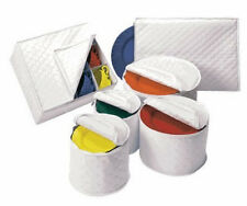 6-PC China Plate White Storage Set Quilted Vinyl Dinner Ware Protector Case Tote