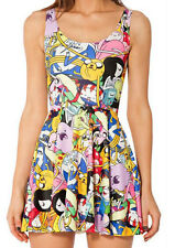 Brand New Colouful Cartoon Strip Skater Dress - 8 10 12 - Manga Kawaii Comic