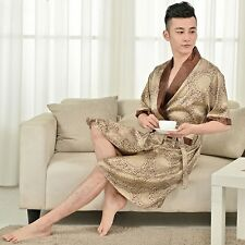 New Men's Faux Silk Robes Bathrobe Sleepwear Summer Pajamas Nightgown Nightshirt