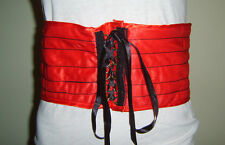 "RED CORSET BELT 5.5"" WIDE WAIST BAND SALOON CAN CAN GIRL FANCY DRESS COSTUME"