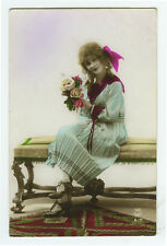 1920s French Deco SAILOR SUIT DRESS Fashion Beauty tinted photo postcard