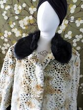 DONNA SALYERS Fabulous Furs faux black beige leopard spotted long coat XL