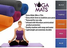 Extra Wide Durable Lightweight Microban Antimicrobial 4 MM Thick Yoga Mat By