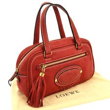 Authentic LOEWE Fringe Logos Hand Tote Bag Red Leather Vintage Italy V02740