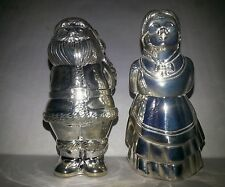 Silverplated Mr. and Mrs. Santa Claus Salt & Pepper Shakers