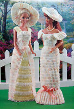 Crochet Pattern Only ~ Barbie's 2 Garden Party Dresses & Hats ~ Fashion Doll