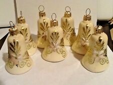 VINTAGE 6 PC CREAM GOLD GLITTER & FLOWER BELL SHAPED CHRISTMAS ORNAMENTS GERMANY