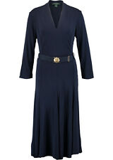 RALPH LAUREN Lorraine Matte Jersey Regal Navy Dress BNWT