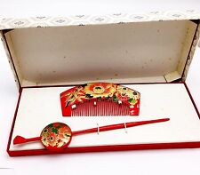 Geisha Japanese Red Laquer Kushi Comb & Kanzashi Hair Never Used Lacquer ware