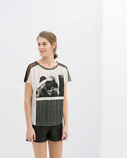 ZARA WOMAN BLACK WHITE PRINTED FASHION PHOTO TEE TOP T-SHIRT S 8 10!