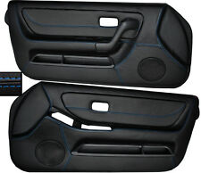 BLUE STITCH 2X FRONT FULL DOOR CARD SKIN COVERS FITS NISSAN SKYLINE R33 93-98