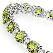 Classic Sterling Silver Diamond and Peridot Tennis Bracelet August Birthstone