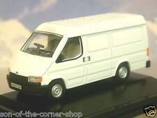 OXFORD DIECAST 1/76  OO 1990 FORD TRANSIT MK3 MKIII LWB VAN IN WHITE 76FT3001