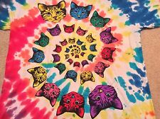 Cat Faces Multi Color Tie Dye Spiral Funny Trippy T-Shirt Large
