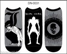Anime Death Note Unisex 3 Pair Low Cut No Show Socks Cosplay - One Size