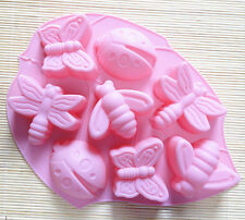 8 Ladybird Butterfly Bee Dragonfly Silicone Cake Soap Mould Baking Chocolate