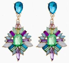 Betsey Johnson Gold Plated Blue Green Lavender Crystal Summertime Stud Earrings