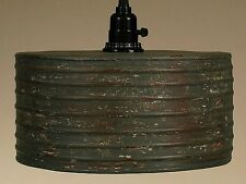 Vintage Rustic Primitive Industrial ROUND Metal Pendant Light Lamp Rusty Gray