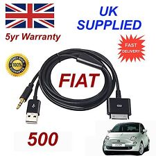Fiat 500 LATEST blue&me 3gs 4 4S iPhone iPod USB Aux audio adapter Cable Black