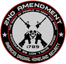 "8"" x 8"" Set of 2.  2nd Amendment Right To Bear Arm Round Vinyl Decal Sticker"