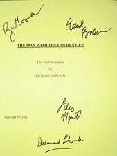 The Man with the Golden Gun Signed Film Script X4 James Bond Roger Moore reprint
