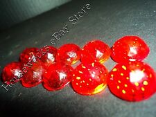 Vintage (10) RUBY RED Glass * CATS EYE * (REFLECTOR Sign JEWELS!) NOS Faceted