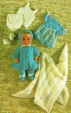 Dolls clothes knitting pattern for 12 inch baby doll.  (V Doll 69)