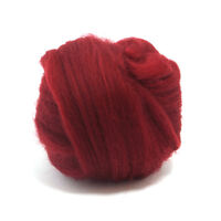 50g DYED MERINO WOOL TOP RUBY RED DREADS 64's SPINNING FELTING ROVING