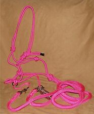 Showman Western Horse PINK Nylon Rope Bitless Bridle & Reins - New Horse Tack