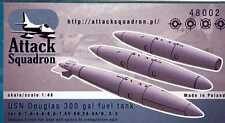 Attack Squadron Models 1/48 U.S. NAVY DOUGLAS 300 GALLON FUEL TANK 3-Pack