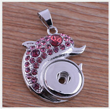 DIY Dolphin Crystal Pendant for Fit Noosa Necklace Snap Chunk Button WC049