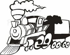TRAIN WITH STEAM ON TRACKS CAR DECAL STICKER