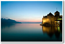 Chateau de Chillon Montreux, Switzerland - Travel European Castle - NEW POSTER
