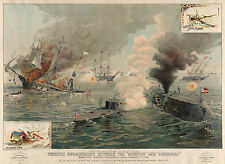 Civil War Prints: Monitor & Merrimac - First Ironclad Engagement: Fine Art Print