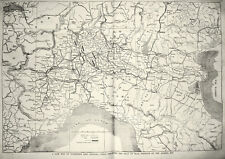 Italy Antique Huge Map 1859 War of Unification Independence 14 x 20