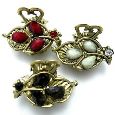 "Lot of 3 Small 1"" Antiqued Gold Black Gray Red Leaf Stone Hair Claw Jaw Clips"