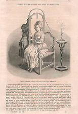 Machine Silhouettes Chair Johann Kaspar Lavater Germany  GRAVURE OLD PRINT 1865