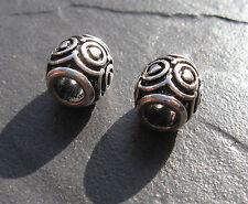 Pair of Tibetan Silver small hole hair braid dread dreadlock beads 5mm hole