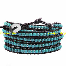 FASHION 5 Wraps Turquoise Bead on Brown Genuine Leather Bracelet 86cm LONG