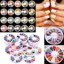 20 Wheels Mixed Nail Art DIY Fimo Glitter Rhinestone Beads Gems Tips Gel Acrylic