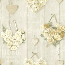 New Grandeco - Vintage Hearts - Wood & Floral - Cream - Luxury Wallpaper A14501