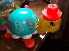 Vintage 1962 Fisher Price # 773 Tip Toe Turtle Pull Toy Works Wood And Plastic