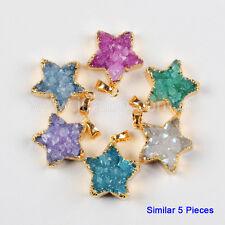 Wholesale 5Pcs Star Rainbow Agate Druzy Pendant Gold Plated FREE NEW BG0419
