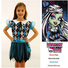 Monster High Frankie Stein Costume Glow in Dark Girls Halloween Party Dress up