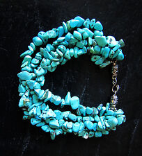 """Artificial TURQUOISE Bracelet 8"""" long four strands silver plated clasp,  new"""