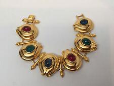 Vintage Fendi Gold Plated Bracelet, Red Blue & Green Glass Cabochons
